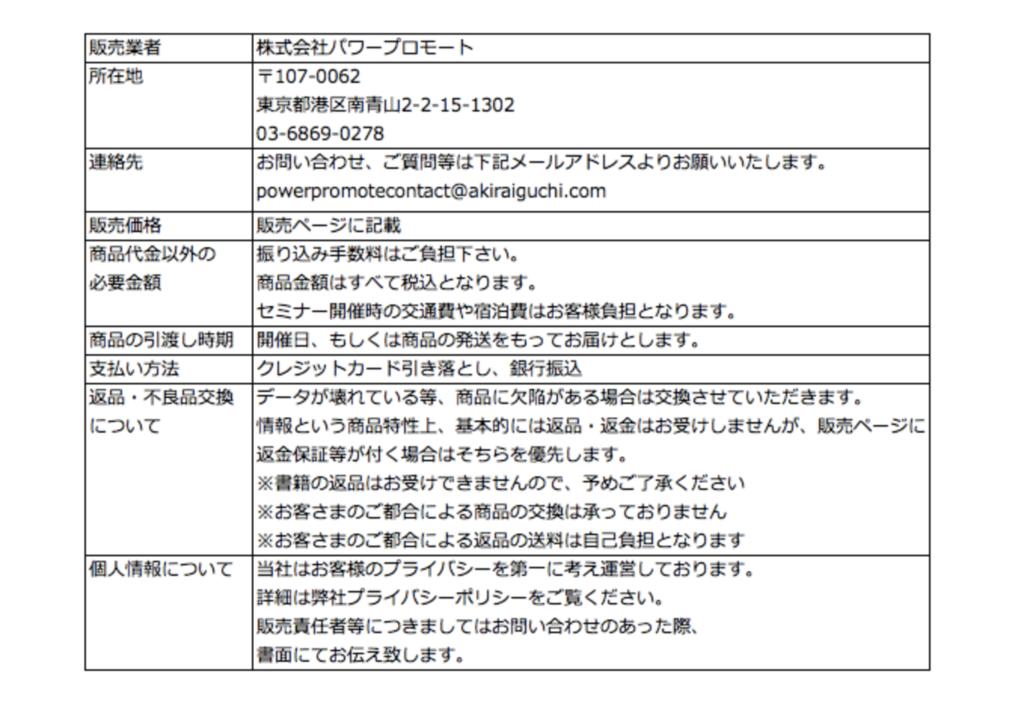 井口晃のThe TRIBE Project(トライブプロジェクト)特商法
