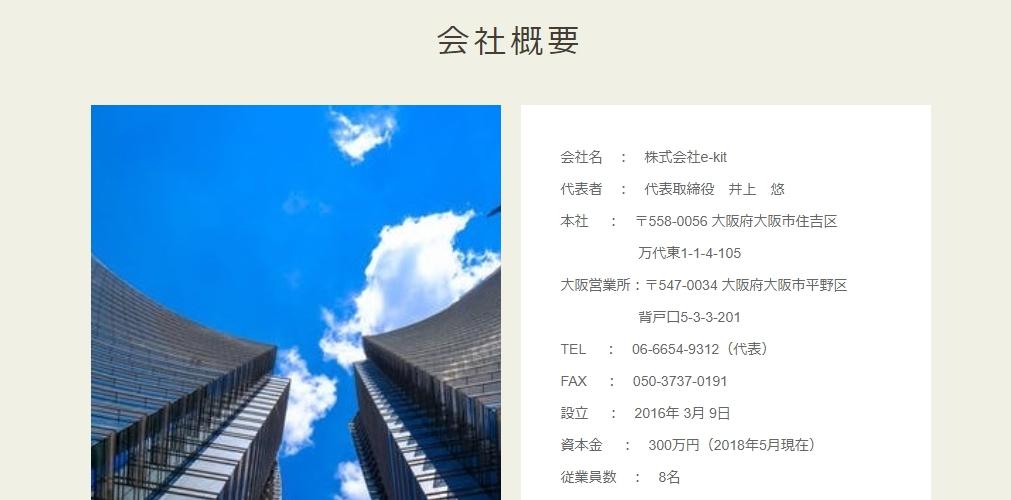 """井上悠 """"Zero Oneプロジェクト(ゼロワン・プロジェクト) 株式会社e-kit 会社概要"""